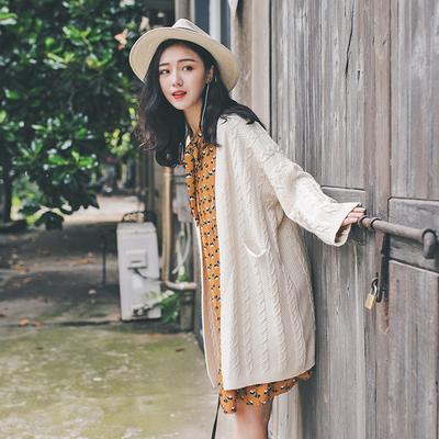 日系学院风秋季新款V领麻花纯色开衫毛衣百搭宽松中长款针织衫女