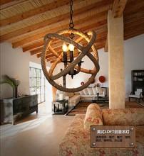 美复古工业餐厅网咖麻绳美式乡村创意吧台咖啡酒吧麻绳圆环吊灯