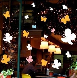 饰贴纸 商场店铺橱窗玻璃门贴纸墙贴窗花装 春天 春季 窗花蝴蝶飞