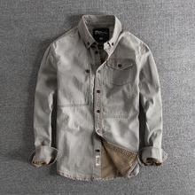 牛仔长袖 衬衫 雅痞复古水洗做旧秋冬欧美修身 百搭男士图片