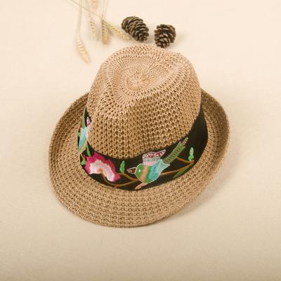 民族风女装配饰2018新款原创编织帽手工刺绣帽遮阳沙滩帽绣花帽
