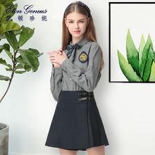 伊顿珍妮 学院风初中高中少女学生羊毛呢半身裙皮袢短裙裤短裤图片