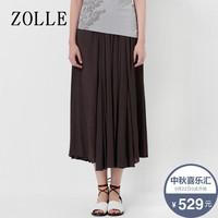 ZOLLE因为夏季雪纺文艺纯色松紧腰百褶裙纯色大摆中长款半身裙女
