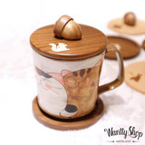 Spot Japanese solid wood cup cover staff shell inlaid handmade wood elephant embedded rabbit squirrel acorn coaster mug cover