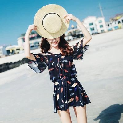 泳衣 女裙式保守韩版泳装连体大码显瘦遮肚小胸聚拢钢托温泉泳衣