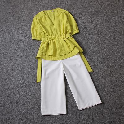 气质套装2018夏装新款收腰V领洋气小衫搭配七分休闲阔腿裤