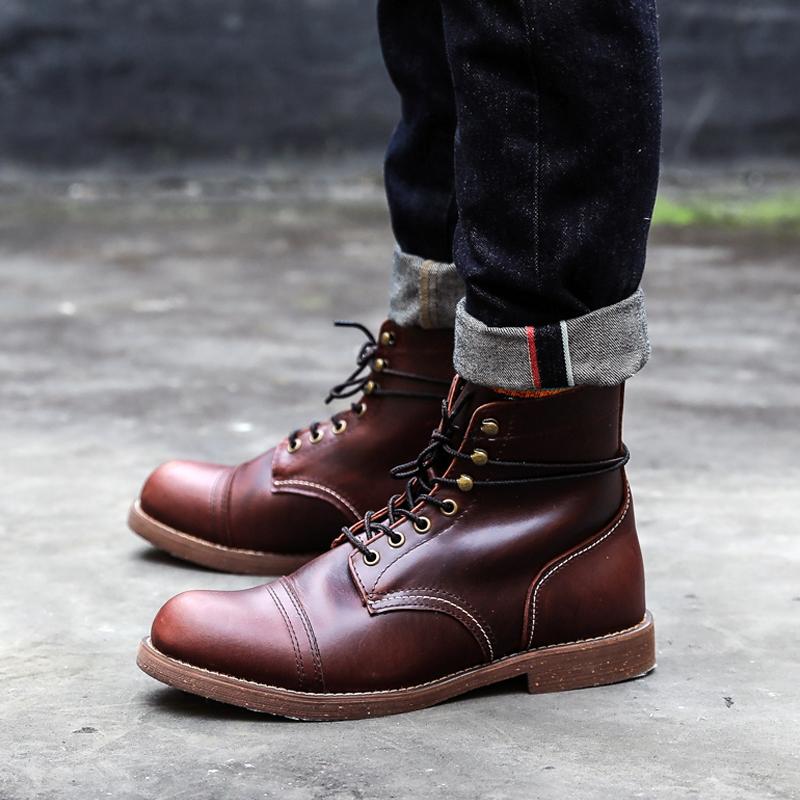 阿美咔叽8111男女工装鞋复古Vintage潮鞋复刻伞兵靴马丁靴机车靴
