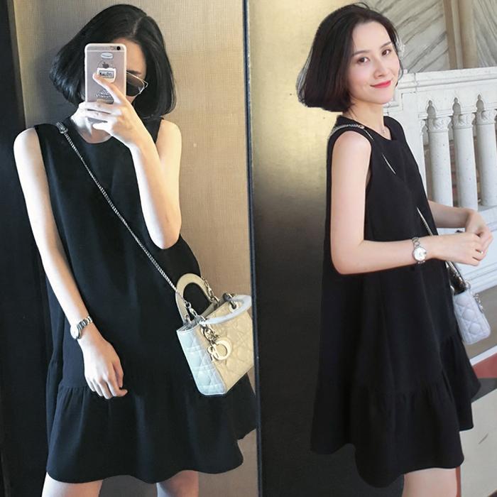 孕妇背心连衣裙黑色