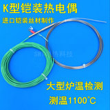 ImportK-type armored thermocouple diameter 0, 5mm temperature sensor large furnace temperature detection probe 3mm tunnel