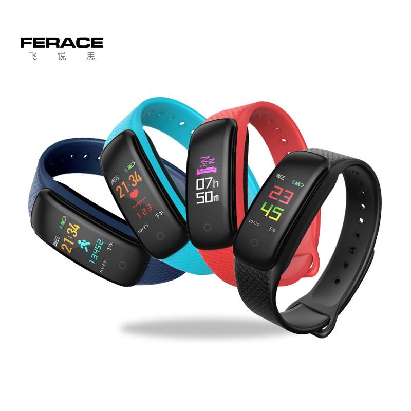 FERACE/飞锐思D3彩屏防水心率监测智能运动手环男女睡眠检测手表