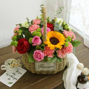 混搭玫瑰绣球向日葵手提花篮礼盒鲜花速递 同城佛山深圳江门送花