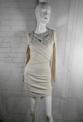 新款杏色修身显瘦收腰千层百褶长袖小码淑女长袖连衣裙礼服裙温婉