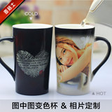 The trend of a variety of creative personality diy custom ceramic Mark discolored water heating cup with lid spoon can print photos