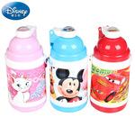 迪士尼儿童保温吸管水壶米奇米妮男女童幼儿春夏塑料背带小巧水杯