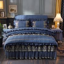 床裙夹棉水洗棉床单被套床罩三件套1.5m韩版床上用品四件套公主风