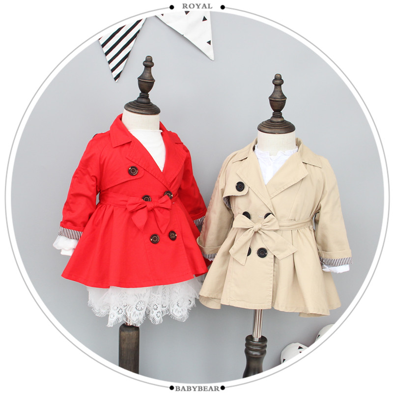 2017春装新款韩版女童装小童风衣1-2-3岁女宝宝双排扣西装领外套