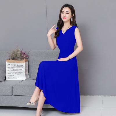 2019春季新款女装雪纺拉链 。V领纯色显瘦修身大摆长款雪纺连衣裙