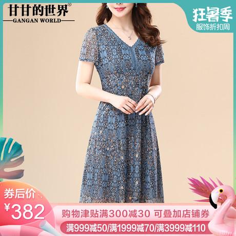 台湾纱连衣裙中长款蕾丝网纱甘甘的世界中年2019夏季新款短袖V领商品大图