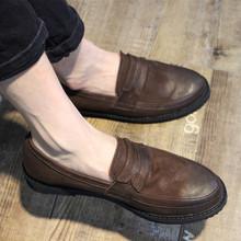 日系复古做旧磨砂牛皮懒人鞋套脚乐福鞋男鞋真皮英伦休闲皮鞋潮鞋