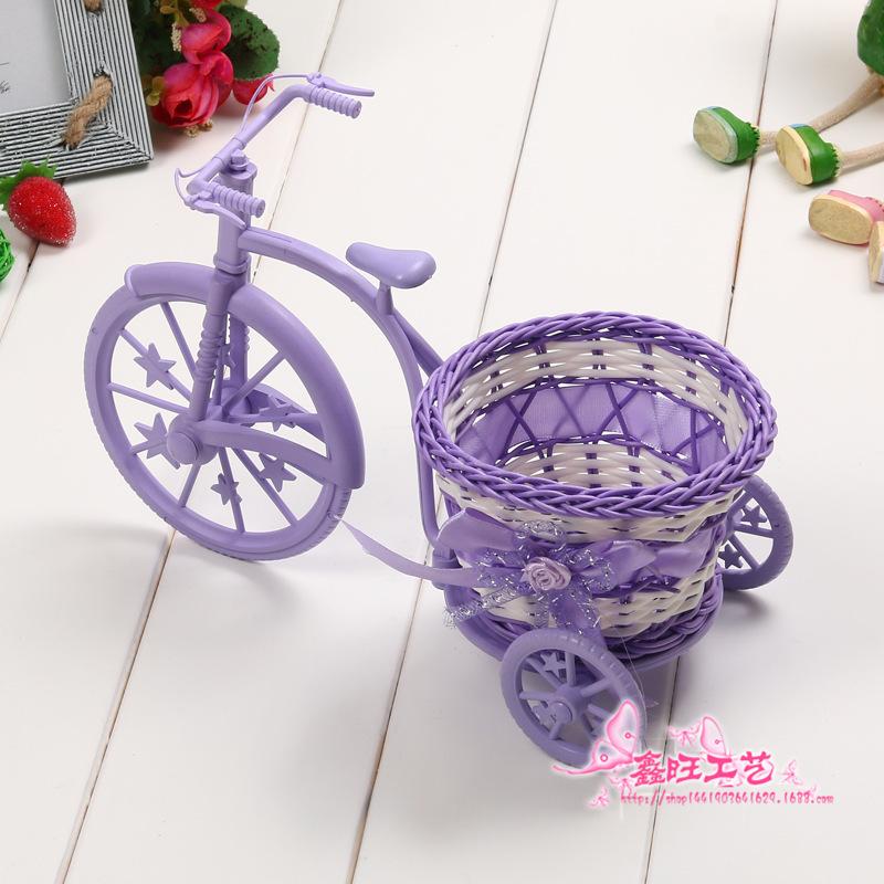 藤编织三轮车自行车喜糖圣诞节平安夜苹果包装盒花篮子装饰摆件