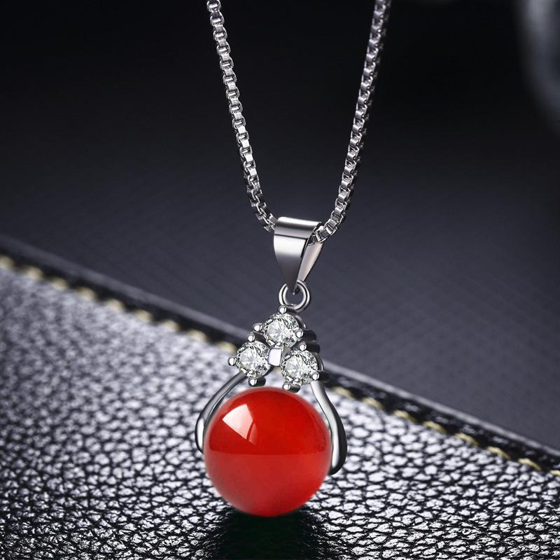 925纯银女转运珠天然水晶吊坠锁骨项链绿宝石玛瑙项坠银饰品包邮