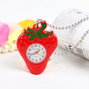 卡通儿童手表创意草莓学生女孩时尚石英怀表项链表小挂件挂表怀表