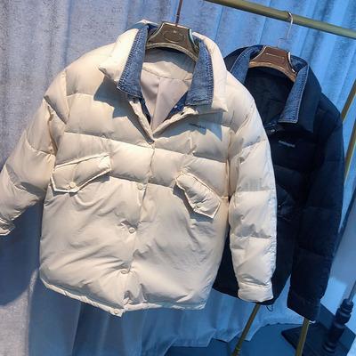 悦姐推荐--牛仔假两件 短款羽绒服外套 两色可选 情侣款哦