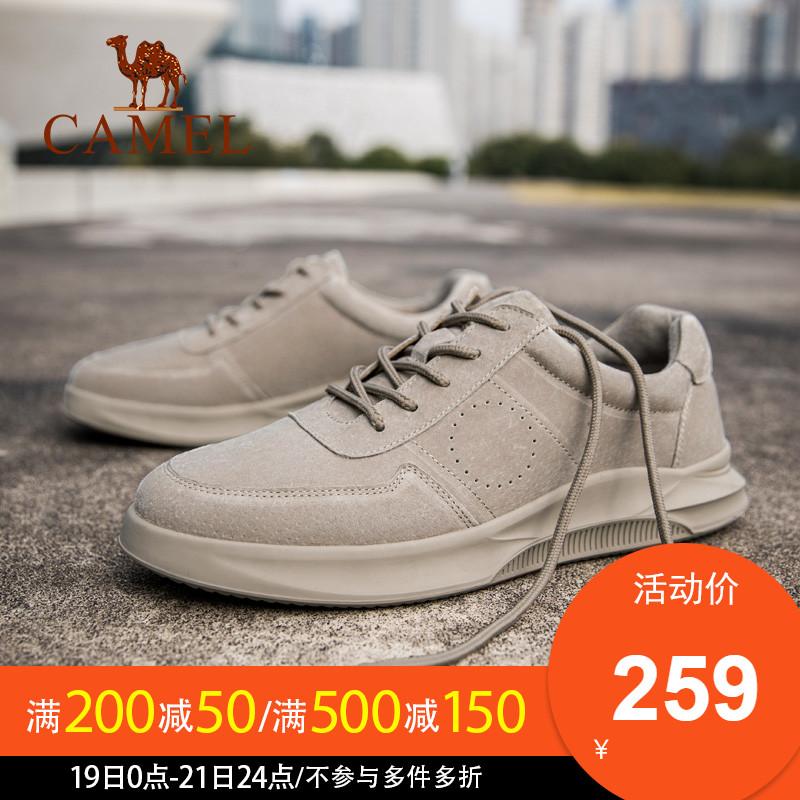 骆驼男鞋秋季2019马丁鞋运动板鞋 休闲皮鞋潮 百搭工装男低帮鞋子