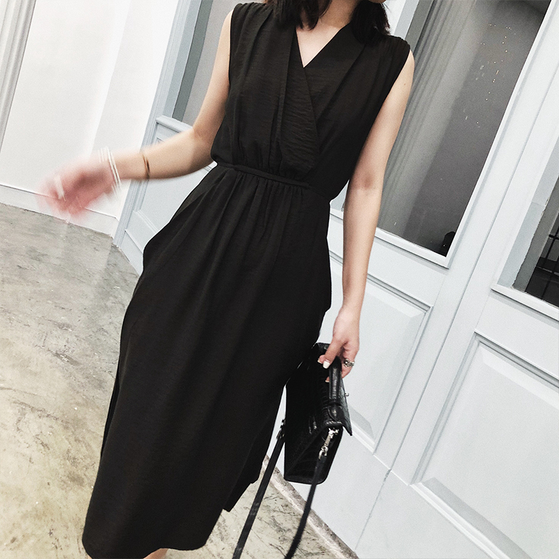 V-neck black dress female summer loose cover belly meat in a version of the long ins