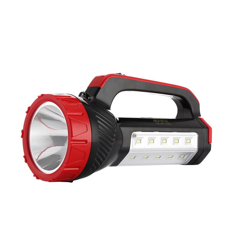 康铭LED手电筒强光充电超亮多功能家用照明探照灯安保巡逻手提灯