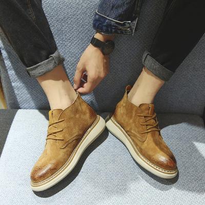 秋冬季工装靴男黑色短皮靴休闲厚底中高帮男鞋子百搭潮流马丁军靴