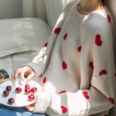 爱心软妹毛衣女2018新款宽松套头针织衫学生韩版可爱甜美秋冬上衣