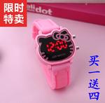 正品儿童手表女孩 防水夜光公主电子手表可爱kt猫LED小学生女童表