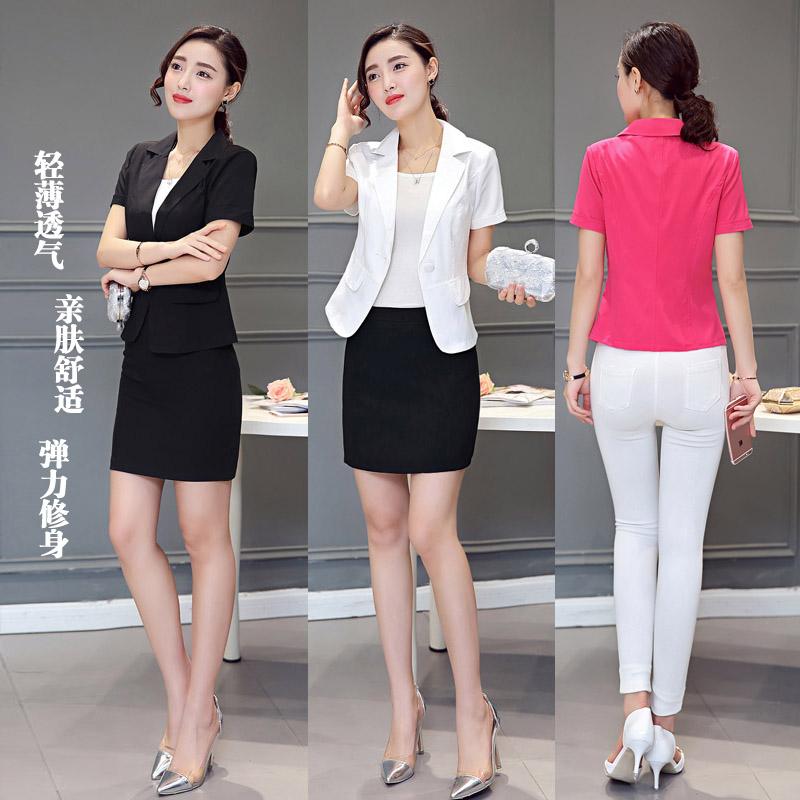 职业西装短袖女