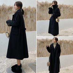 2018流行大衣女冬过膝中长款韩版宽松加厚呢子赫本风黑色毛呢外套