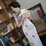 2017 new daily improved silk cheongsam long summer elegant slim lady cheongsam performance dress