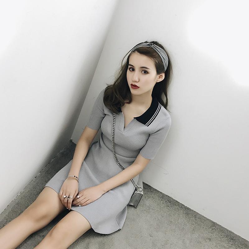 新款韩版修身针织连衣裙