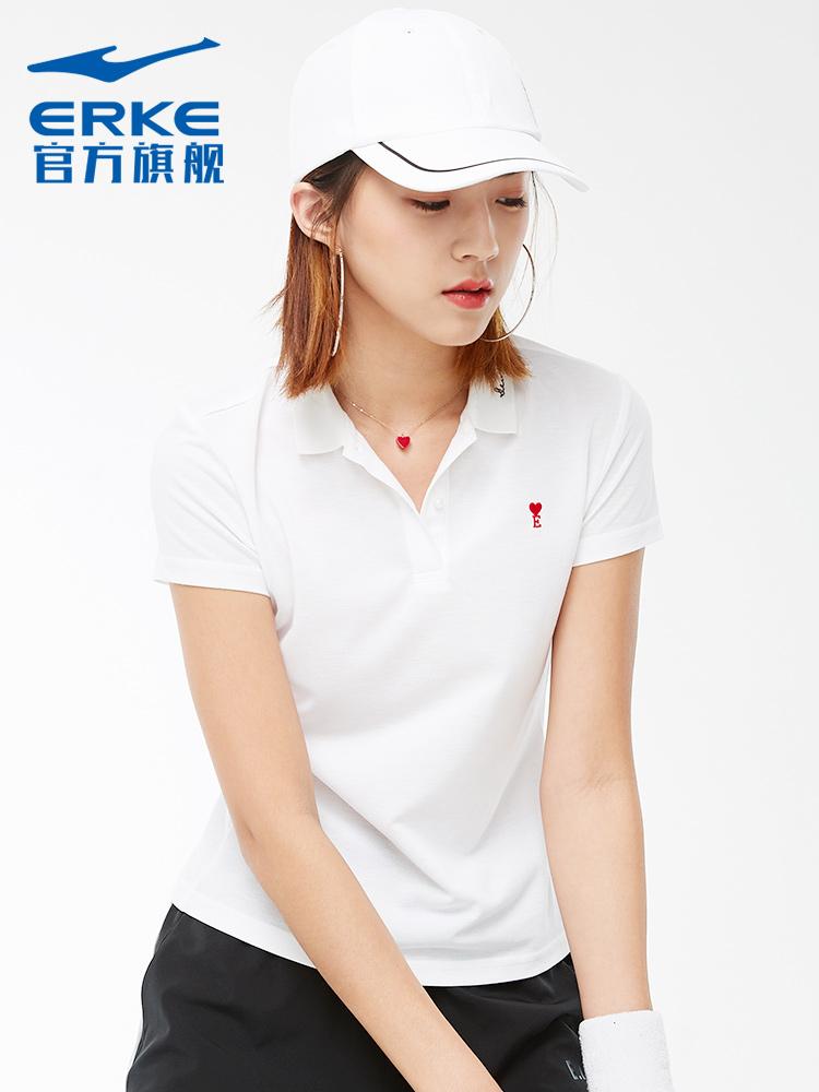鸿星尔克女装运动服2019年夏季新款女子v领短袖T恤polo衫舒适短袖