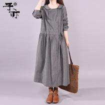 子亦2019韩版春装新款长袖裙子 宽松口袋大码腰间系带打底连衣裙