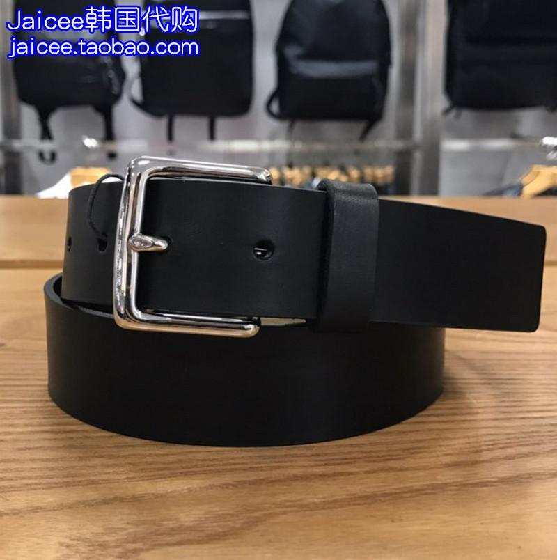 现货100 韩国购18春CK/ck jeans男士黑色真皮皮带腰带HC0462 890