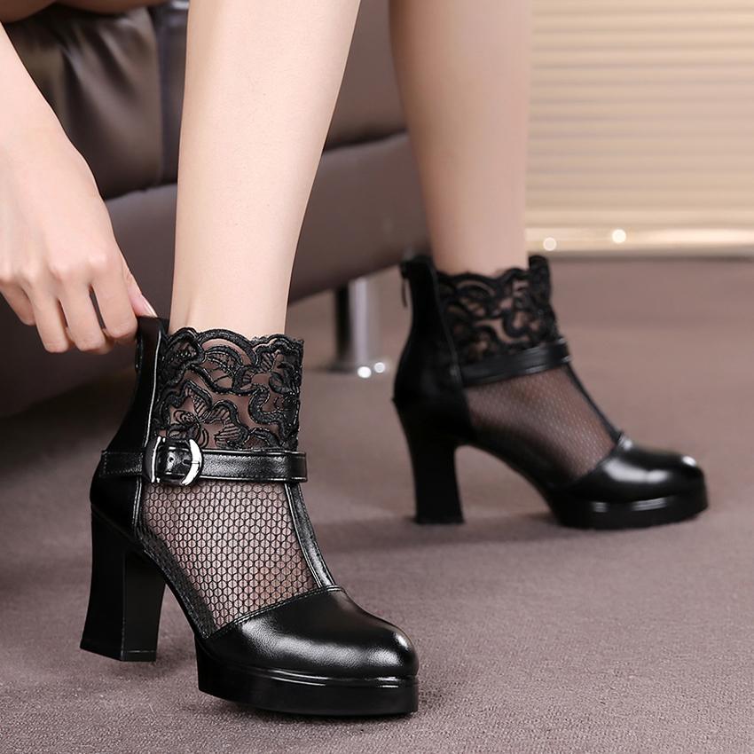 春季网靴欧美蕾丝短靴真皮粗跟女靴拉链网纱单靴高跟镂空靴子