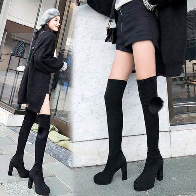 靴子女秋2018新款韩版高跟防水台显瘦过膝长靴弹力长筒靴粗跟女靴