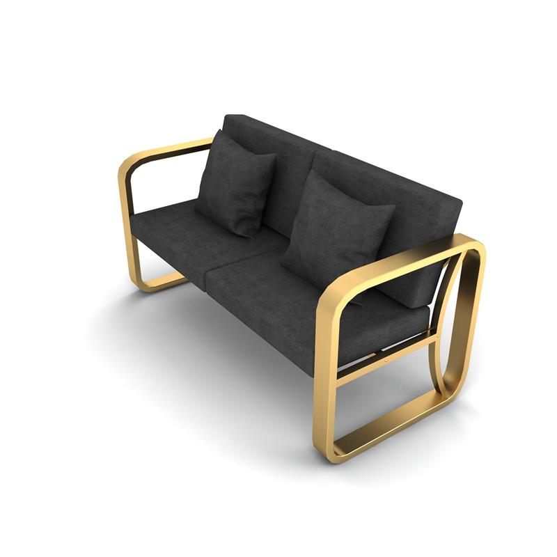 北欧简约铁艺沙发椅组合会议室休闲办公三人现代布艺金色沙发卡座