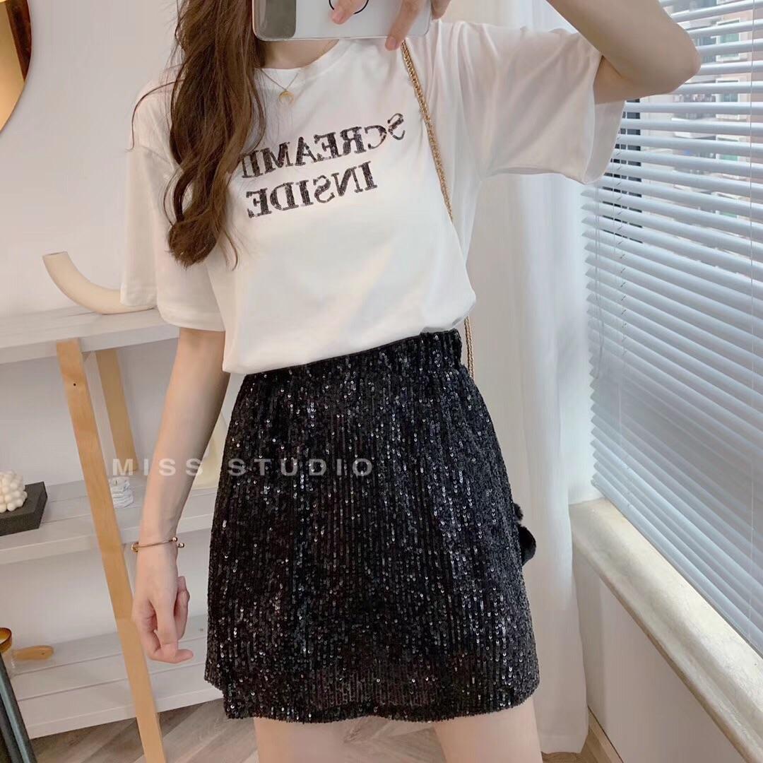 miss 韩国夏季新款闪闪字母t恤+松紧腰bling半裙二件套时尚休闲