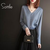 2019春装新款女装韩版V领长袖雪纺衫大码宽松女洋气小衫气质上衣