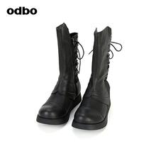 odbo/欧迪比欧2019秋季新款原创设计师品牌女鞋马丁骑士靴中筒靴图片