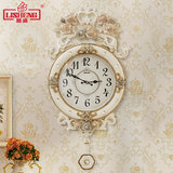 Lisheng European-style wall clock living room mute modern home large quartz clock hanging watch pastoral art creative simplicity