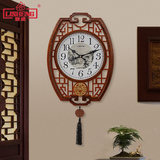 Li Sheng new Chinese solid wood wall clock living room antique mute quartz clock home hanging table art decoration clock