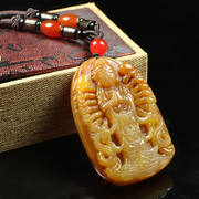 Natural jade Huanglong jade men's jade pendant thousand hands Guanyin jade necklace jade jade carving male jade jade pendant