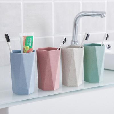 集美 几何菱形刷牙杯漱口杯喝水杯子 家用情侣牙刷杯洗漱杯牙缸